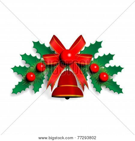 llustration of Christmas garland with green spruce twigs red ribbon bell and decorative balls