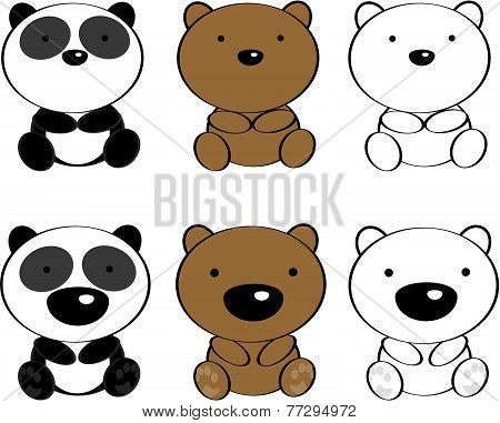cute baby animals cartoon set0