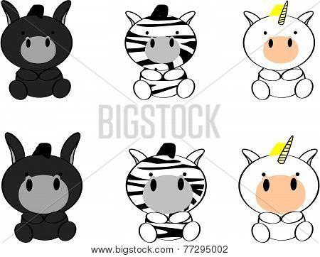 cute baby animals cartoon set1