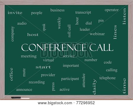 Conference Call Word Cloud Concept On A Blackboard