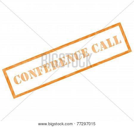 Conference Call Grunge Orange Stamp