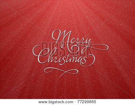 Christmas greeting card with snowflakes. Vector illustration of red Christmas background with snowflakes.