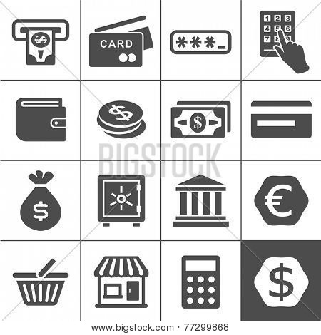 Finance and money icon set. Simplus series vector icons