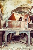 picture of wine-press  - Vintage old abandoned winery old equipment and grape presses - JPG