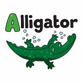 picture of alligator baby  - Children vector illustration of little funny alligator or crocodile swims in the lake - JPG