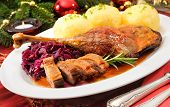 foto of canard  - Crusty goose leg with braised red cabbage and dumplings - JPG