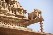stock photo of kandariya mahadeva temple  - Elephant sculptures on Kandariya Mahadeva Khajuraho in India Asia - JPG