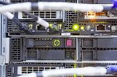 stock photo of mainframe  - detail of modern hi tech data server in network center - JPG