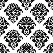 pic of dainty  - Close up black and white damask floral pattern design with dainty retro flowers - JPG
