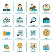 image of interview  - Human resources personnel recruitment training and interview strategy flat set icons with applicant portfolio isolated vector illustration - JPG