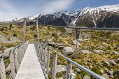 foto of hookers  - Bridge over Hooker River in Aoraki national park New Zealand - JPG