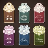 picture of boutique  - Retro style original brand vintage boutique labels set isolated vector illustration - JPG