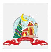 image of crescent-shaped  - card with Christmas tree - JPG