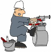 foto of struggle  - This illustration depicts a worker in coveralls and hard hat struggling to loosen a gas meter with two pipe wrenches - JPG
