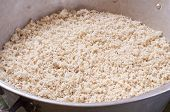 stock photo of maize  - Large aluminum pan filled with fresh ground white maize corn for making tamales - JPG