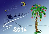 pic of sleigh ride  - Scene with decorated fir Christmas and Santa - JPG