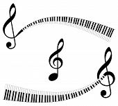 image of music symbol  - Clef with keyboard as ending - JPG