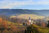 stock photo of pieniny  - View of the Church in Jaworki Pieniny Poland - JPG