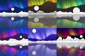 picture of arctic landscape  - Set of arctic pole landscape generated textures or background - JPG
