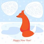 picture of arctic fox  - winter holiday vector background with cartoon fox - JPG