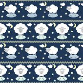 pic of inference  - Pattern seamless background with funny cartoon moon clouds stars and sheep the symbol of the new year of the sheep on the deep blue cover - JPG