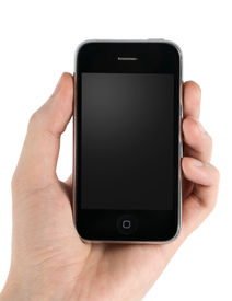 stock photo of mobile-phone  - Mobile phone in man hand isolated on a white - JPG