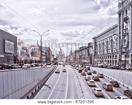 Moscow. Garden Ring. Infrared Photo