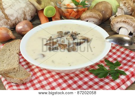 Veal Cream Soup Mt Mushrooms
