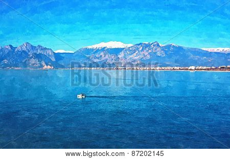 A Digitally Constructed Painting Of A Small Fishing Boat  With Snow Covered Mountains In Antalya Tur