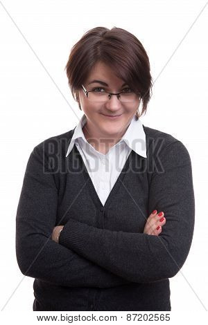 Business Woman Arms Folded Isolated On White