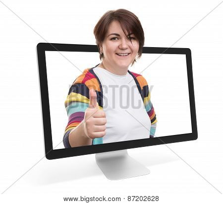 Happy Smiling Woman With Thumbs Up Gesture