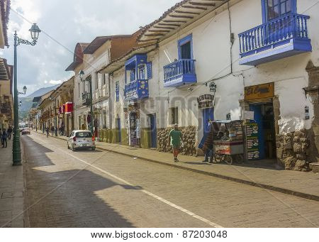 Street Of Cusco In Peru