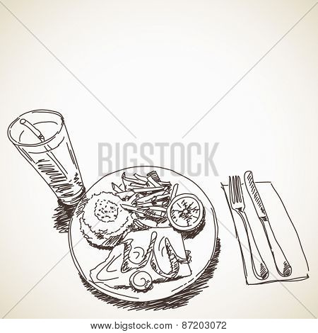 Sketch of food and drink, Hand drawn Vector illustration