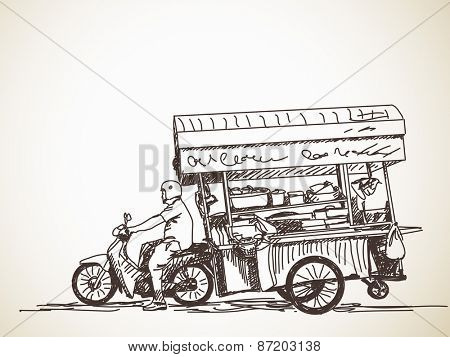 Asian street food restaurant with motorbike, Hand drawn vector sketch