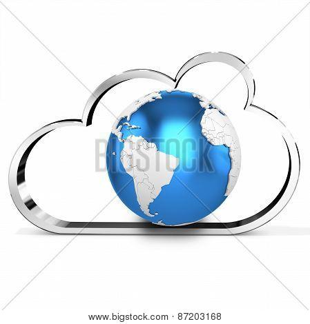 3D Metallic Cloud With Earth Globe
