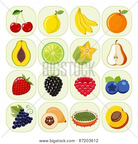 Set of different kinds of fruit icons. Vegetarian food icons. Collection of flat design icons presenting different kinds of fruits. Vector illustration of colorful and cute food icons.