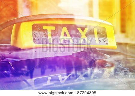 Taxi Cab Car Roof Sign, Double Exposure