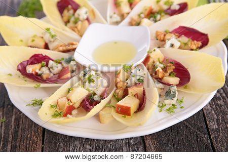fresh salad with chicory and walnut
