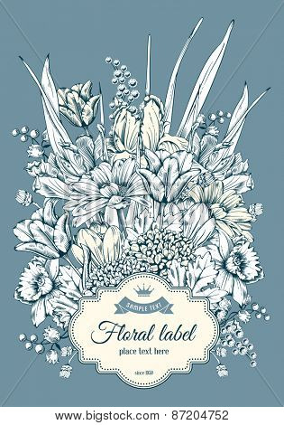 Vintage card for invitation or other life events. Hand drawn spring garden flowers on blue background. Vector illustration.
