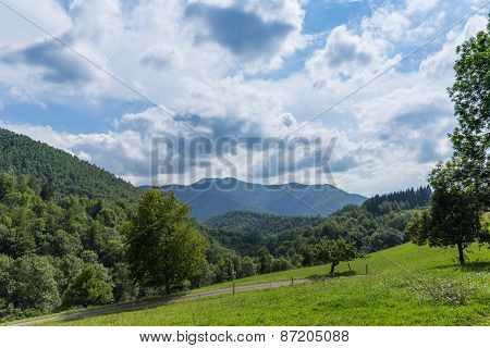View From Within The Pyrenees Towards A Montain Range