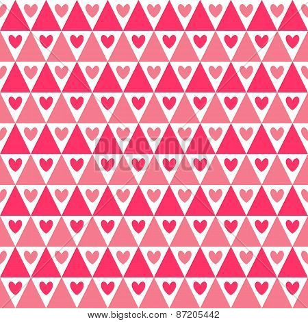 Heart shape vector seamless pattern. Pink color