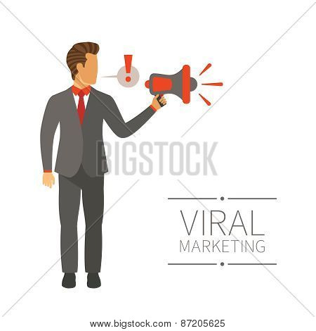 Businessman Shouting In Megaphone Vector Concept In Modern Flat Style
