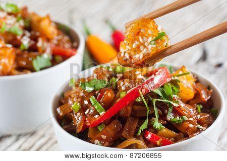 Fried Rice Noodles With Shrimp.