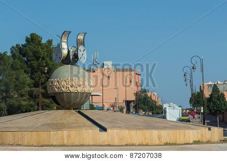 The Movie Symbol At The Roundabout Of Road In Quarzazate
