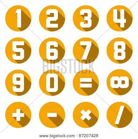Collection Of Isolated Yellow Flat Numbers And Math Symbols