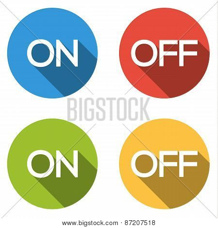 Collection Of 4 Isolated Flat Colorful Buttons For On/off With Long Shadow