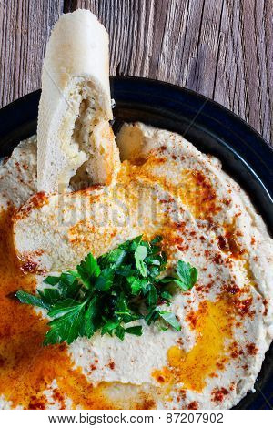 Fresh Hummus With Parsley And Oil.