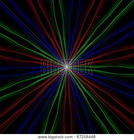 Thin Neon Rgb Rays From Center To The Edge