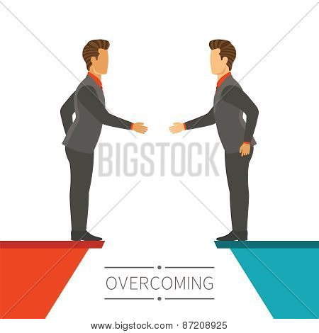 Business Disagreement Overcoming Vector Concept In Flat Modern Style