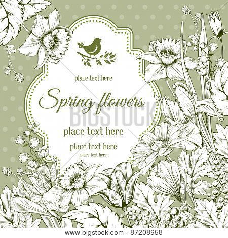 Vintage card for invitation or other life events. Hand drawn spring garden flowers on green polka dot background. Vector illustration.